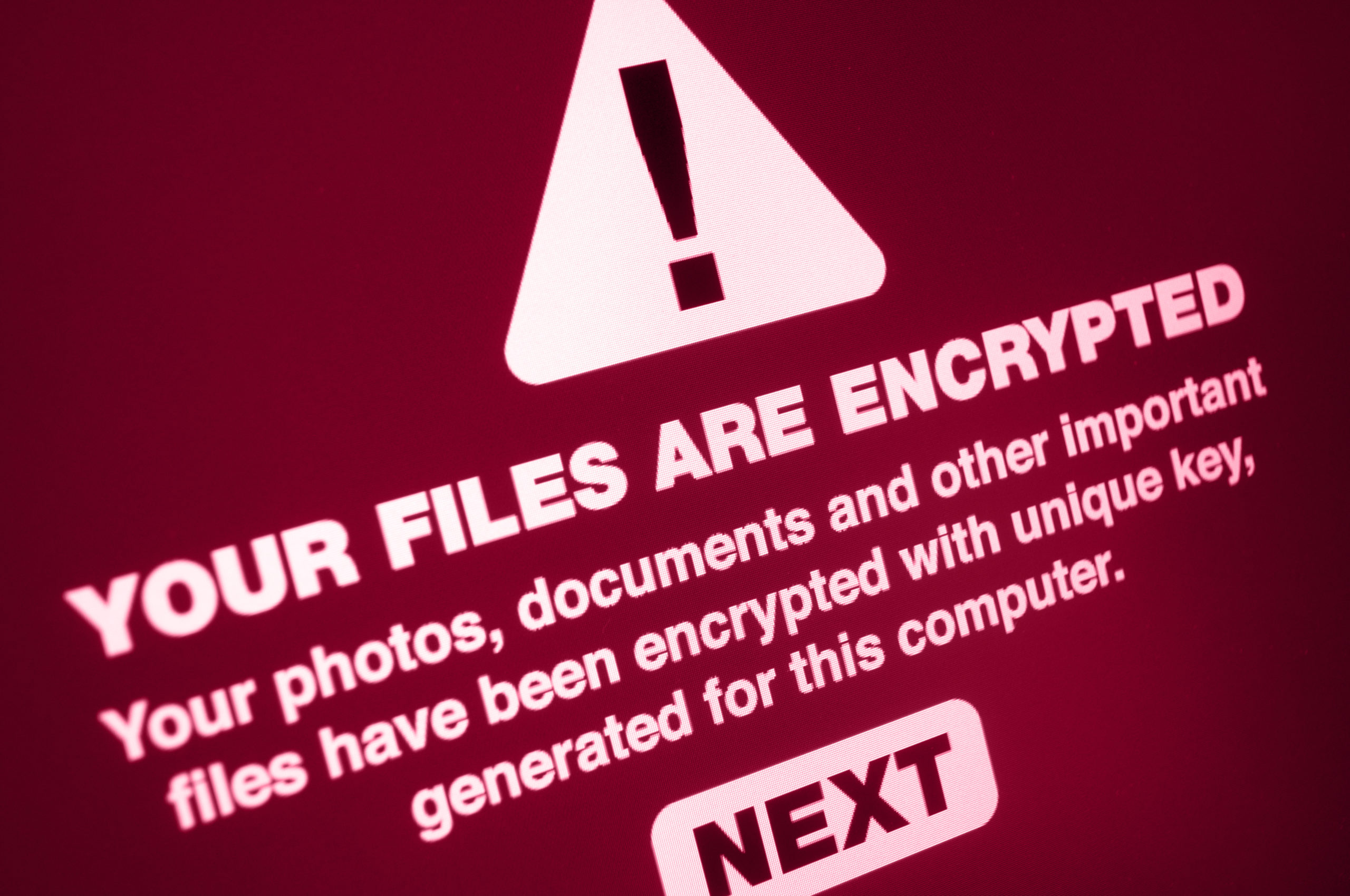 warning sign of encrypted files